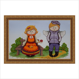 """Вышитая бисером картина """"В саду"""""""