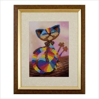"""Вышитая бисером картина """"Цветной кот"""""""