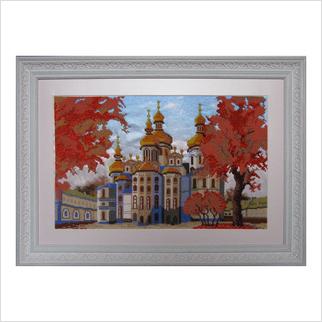 """Вышитая бисером картина """"Успенский собор осенью"""""""