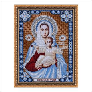 """Вышитая бисером икона """"Пресвятая Богородица"""" (без багета)"""