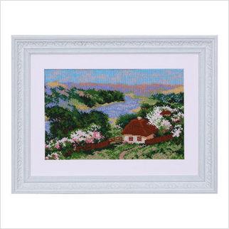 """Вышитая бисером картина """"Село у реки"""""""