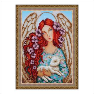 """Вышитая бисером картина """"Ангел с ягненком"""" (без багета)"""