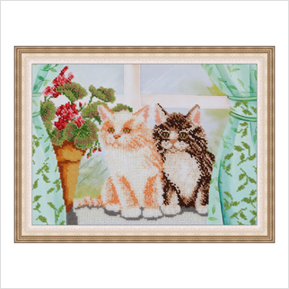 "Вышитая бисером картина ""Котята"""