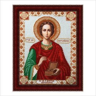 """Вышитая бисером икона """"Святой Великомученик Пантелеймон"""""""