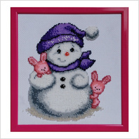 """Вышитая бисером картина """"Снеговик и зайчата"""""""