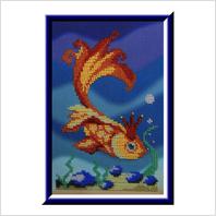 """Вышитая бисером картина """"Золотая рыбка"""""""