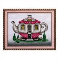 """Вышитая бисером картина """"Дом-чайник"""""""