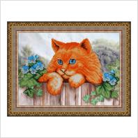 """Вышитая бисером картина """"Рыжий кот"""" (без багета)"""