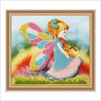 """Вышитая бисером картина """"Девочка-бабочка"""""""