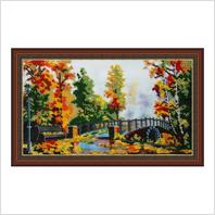 """Вышитая бисером картина """"Осенний мост"""" (без багета)"""