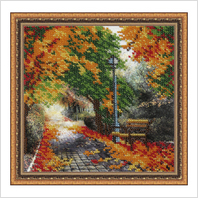 "Вышитая бисером картина ""Осенний парк"" (без багета)"