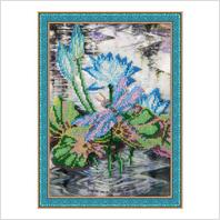 """Вышитая бисером картина """"Лилии на воде"""" (без багета)"""