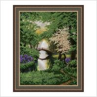 """Вышитая бисером картина """"Парк с озером"""" (без багета)"""
