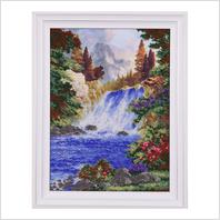 """Вышитая бисером картина """"Горный водопад"""""""