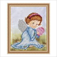 """Вышитая бисером картина """"Ангел с писанкой"""" (без багета)"""
