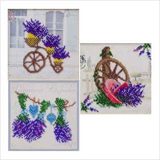 Лавандовий рай (триптих) - ТН-1240 - ВДВ - Набір для вишивки бісером - Квіти