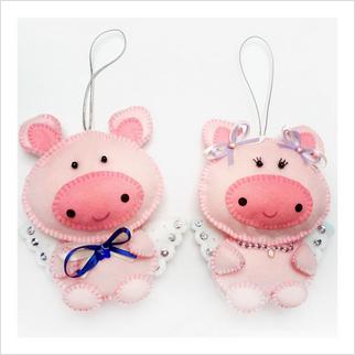 """Набор с фетром ''Декоративные игрушки """"Свинки"""""""