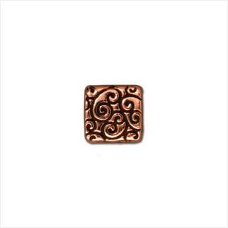 Квадратная бусина завитки (античная медь)