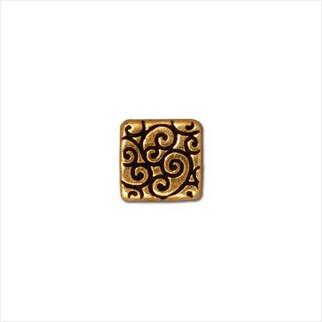 Квадратная бусина завитки (античное золото)