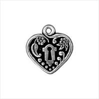 Сердце с замочной скважиной (античное серебро)