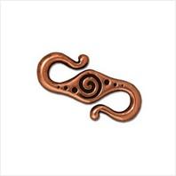 Застежка S-крючок спираль (античная медь)