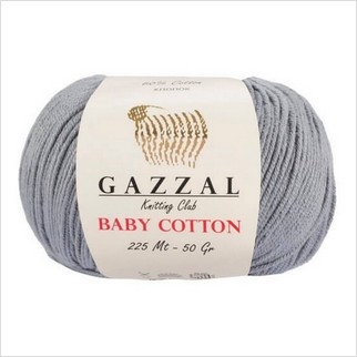 Пряжа Baby Cotton, цвет серый