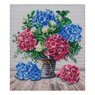 Букет з гортензіями - Т-1336 - ВДВ - Схема для вишивки бісером - Квіти