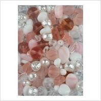 Мікс пресованих намистин (білий, рожевий)