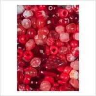 Мікс пресованих намистин (червоний)