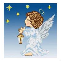 """Ткань со схемой для вышивания бисером """"Ангел"""""""
