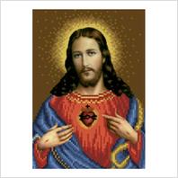 """Ткань со схемой для вышивания бисером """"Святое сердце Христово"""""""
