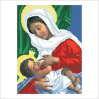 """Ткань со схемой для вышивания бисером """"Богородица Кормилица"""""""
