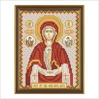 """Ткань со схемой для вышивания бисером """"Богородица «Слово плоть бысть»"""""""