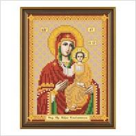 """Ткань со схемой для вышивания бисером """"Богородица Смоленская"""""""