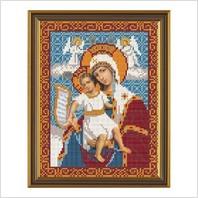 """Ткань со схемой для вышивания бисером """"Богородица «Достойно Есть»"""""""