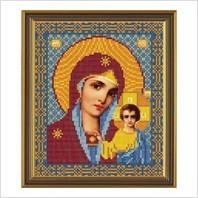 """Ткань со схемой для вышивания бисером """"Богородица Казанская"""""""