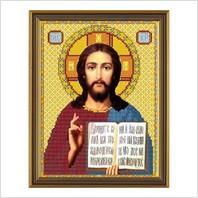 """Ткань со схемой для вышивания бисером """"Христос Спаситель"""""""