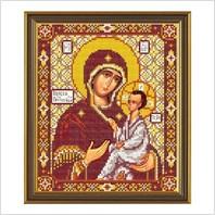 """Ткань со схемой для вышивания бисером """"Богородица Тихвинская"""""""