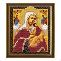 """Ткань со схемой для вышивания бисером """"Богородица «Страстная»"""""""