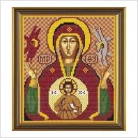 """Ткань со схемой для вышивания бисером """"Богородица «Знамение»"""""""