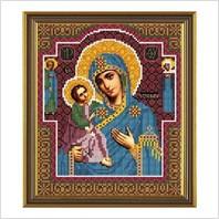 """Ткань со схемой для вышивания бисером """"Богородица Иерусалимская"""""""