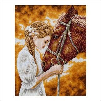Дівчина з конем - Т-1298 - ВДВ - Схема для вишивки бісером - Люди