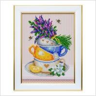 """Вышитая бисером картина """"Травяной чай"""""""